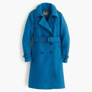 J. Crew Wool Cashmere Icon Trench Blue 10